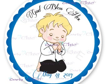 First Communion Boy Prayer Stickers -First Communion Labels -Boy Communion Stickers -Personalized Communion Label -Paper Labels