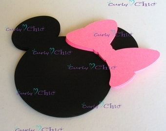 "45 Minnie Mouse with 45 Bows Die cuts Size 4"" -Minnie with Bows tags -Minnie Labels -Paper labels -Cardstock Die cuts"