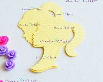 """24 Barbie Silhouette Die cuts 2.50"""" -Barbie Silhouettes Paper Labels -Barbie Silhouettes Tags -Paper tags -Cardstock die cuts"""