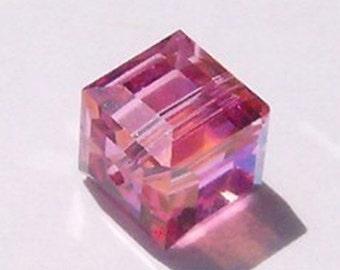 Sale -- Swarovski crystal beads 6mm Cube 5601 crystal beads ROSE -- 4 beads