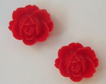 Clearance Sale -- 6 Resin Cabochons Vintage Style Resin Flowers 21mm  -- RED  flat back, no hole cabochons