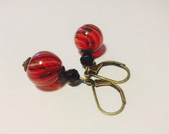 "Earrings - Hand Blown Glass - Swirly Red - ""Take These Thoughts"""