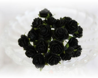 Miniature Roses~Black~ Set of 20 for Scrapbooking, Cardmaking, Altered Art, Wedding, Mini Album
