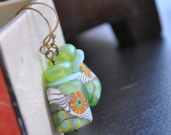 Green Flower Square Earrings, Lampwork Glass Earrings