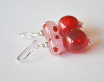 Red and Pink Polka Dot Earrings on Sterling Silver - Long Dangle Earrings