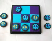Peace Rock Tic Tac Toe Board Game with travel bag