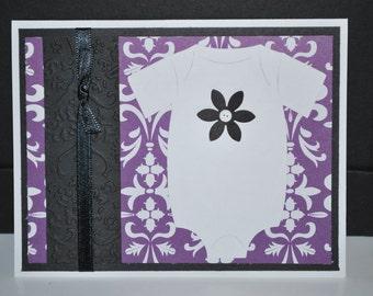 Purple Damask Bodysuit Card