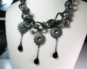 Tears of Dark Elf - regal statement necklace with botswana agate, gun metal chain, black onyx drops and more