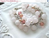 On Sale Rose Quartz Fresh Water Pearl Glass Bead Charm Bracelet