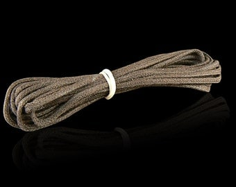2mm dark brown woven cotton cord, 3 yard hank