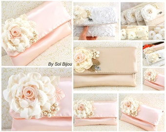 Clutches, Handbags, Purse, Wedding, Bridesmaids, Maid of Honor, Mother of the Bride, Ivory, Cream, Peach, Pearls, Rectangular, Vintage Style