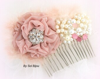Hair Comb, Dusty Rose, Blush, Pink, Ivory, Bridal, Vintage Wedding, Fascinator, Elegant, Maid of Honor, Feathers, Crystals, Pearls