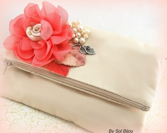 Clutch, Bridal, Wedding, Handbag, Purse, Champagne, Coral, Ivory, Satin, Pearls, Lace, Mother of the Bride, Maid of Honor, Elegant