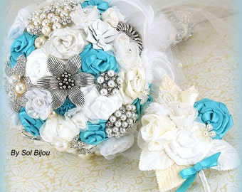 Brooch Bouquet, Turquoise Bouquet, Groom Boutonniere, Lace, White, Ivory, Wedding Bouquet, Bridal, Pearls, Crystals, Elegant,Vintage Style