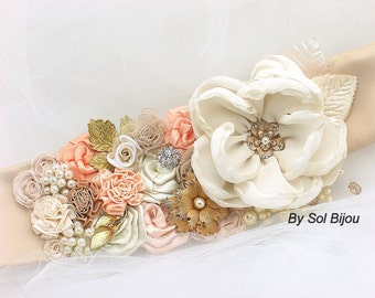 Sash, Bridal,  Elegant Wedding, Gold, Ivory, Coral, Blush, Peach, Vintage Style, Pearls, Crystals, Lace, Brooch, Gatsby Style