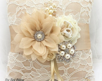 Ring Bearer Pillow, Wedding, Bridal, Champagne, Tan, Cream, Ivory, Lace, Brooch, Crystals, Pearls, Vintage Style, Gatsby