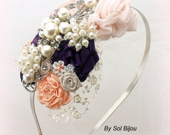 Plum Headband, Lace Fascinator, Purple, Ivory, Blush, Peach, Bridal, Wedding, Pearls, Lace, Crystals, Elegant, Vintage Wedding