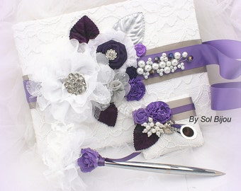 Guest Book, White, Plum, Purple, Lilac, Silver, Wedding, Bridal, Signature Book, Signing Pen, Lace, Crystals, Pearls, Vintage Wedding