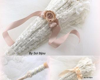 Parasol, Ivory, Cream, Blush, Rose, Sun Umbrella, Wedding Parasol, Photo Prop, Lace Umbrella, Vintage Wedding, Elegant, Pearls, Ruffles