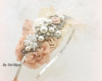 Headband, Elegant Wedding, Champagne, Tan, Beige, Ivory, Blush, Vintage Style, Bridal, Fascinator, Chiffon, Pearls, Feathers, Crystals, Lace