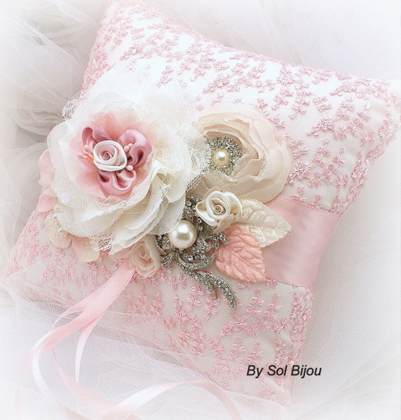 Ring Bearer Pillow, Pink, Cream, Ivory, Bridal, Wedding, Lace Ring Pillow, Brooch, Crystals, Pearls, Vintage Wedding, Elegant
