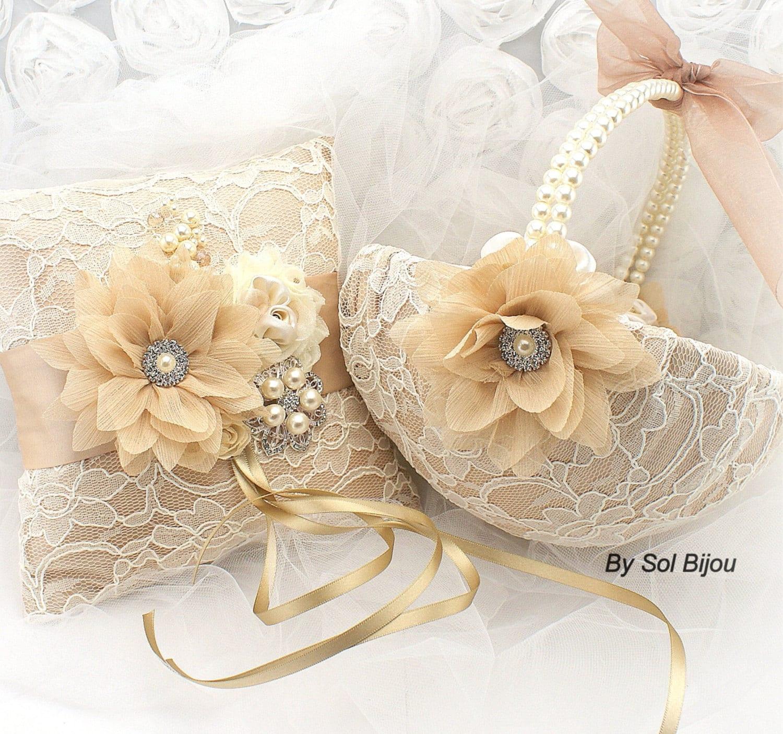 Flower Girl Baskets For Weddings: Wedding Ring Pillow Flower Girl Basket Champagne Gold Tan