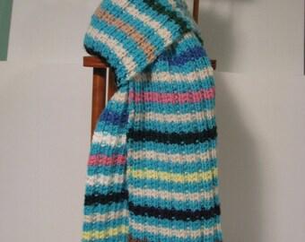 Colorful Extra Long Aqua Striped Scarf