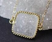 White Druzy Connector Necklace - Square Druzy Crystal Pendant - 14K GF