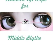 Middie Blythe New Soft Resin OOAK REALISTIC custom eye chips set C8 , by Ana Karina. UV laminated