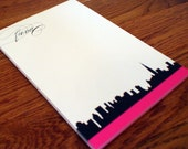 NYC Silhouette Personalized Notepad - New York City Skyline Note Pad -  Personalized Stationary - Stationery - Teacher Personalized Gift