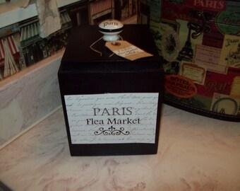 SHABBY French black Paris Flea Market canister box ,organizer box ,PARIS decor,FRENCH decor,Paris bedroom decor,Paris bathroom,shabby chic