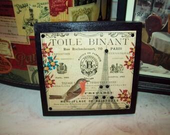 Toile Binant Eiffel Tower shelf sitter plaque sign,shabby chic,Paris decor,French decor,Paris bedroom decor,French bedroom