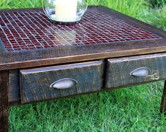 "Large Coffee Table, Tile Mosaic, ""Fire & Ice"", Reclaimed Wood, Rustic Contemporary, Dark Brown Finish - Handmade"