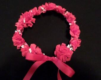 girls floral hair wreath silk flower fairy princess headband-red