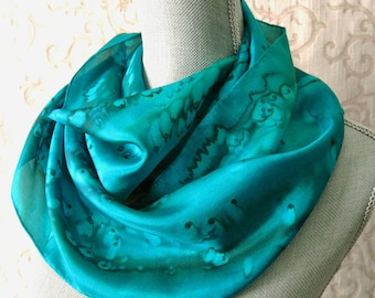 Handpainted Silk Scarf in Shades of Emerald