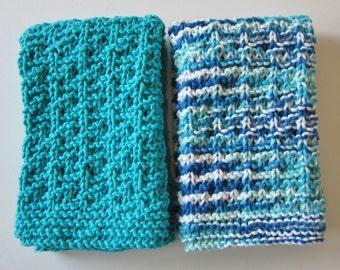 Knit Cotton Dishtowels, Kitchen Towel, Teal Handtowel, Set of Dishtowels, Blue Tea Towels, Bathroom Handtowels, 2 Towel Set