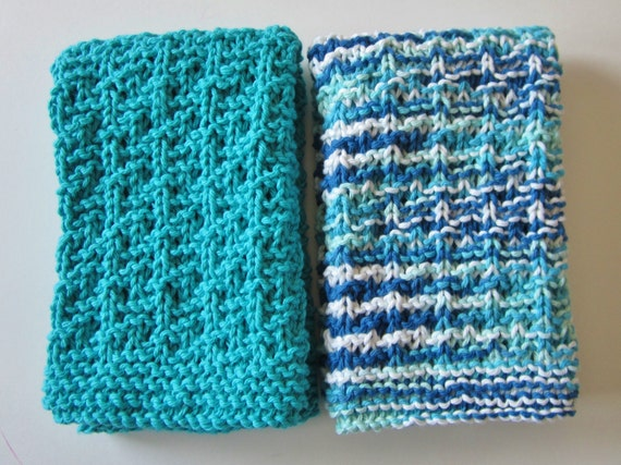 Knitted Cotton Dish Towel Pattern : Knit Cotton Dishtowels Kitchen Towel Teal Handtowel Set of