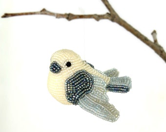 Dove Bird Ornament Beaded Spring Decoration Housewarming Gift *READY TO SHIP