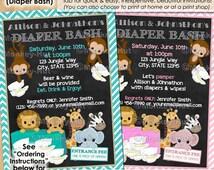 Diaper Bash Wild Animal Baby Shower invitations / diapers wipes boy boys girl girls animals / #0169a 0169b / Personalized DIGITAL INVITATION