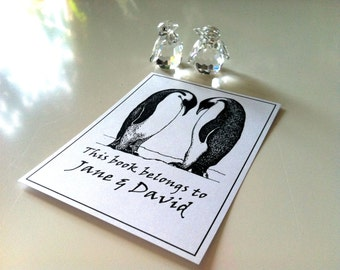 Bookplates Penguins in Love Wedding Gift 15 Personalized Ex Libris Booklabels