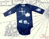 Navy Blue Cotton Treasure Map Baby Onesie 3-6 months