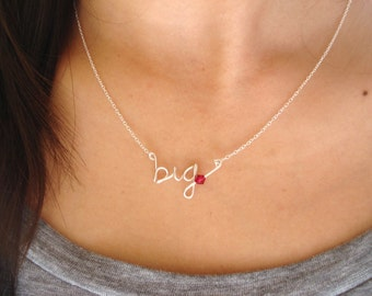 """Personalized """"big"""" or """"little"""" sister Necklace...handmade sterling silver, everyday, name necklace, sorority jewelry, wedding, birthday gift"""