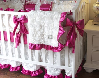 White and Hot Pink Crib Bedding, Girl Baby Bedding, Fancy Crib Bedding for Girl, Ivory Roses Crib Bedding, Exquisite Crib Bedding for girls