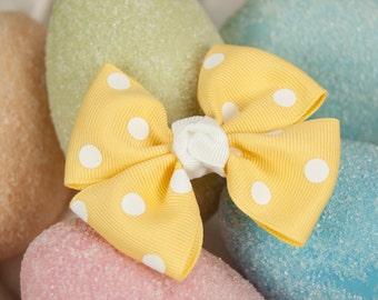Banana Polka Dot Pinwheel Bow, Girls Polka Dot Hair Bow, Spring Hair Bow, Yellow Hair Bow, Pinwheel Bows For Girls, Toddler Hair Bows,