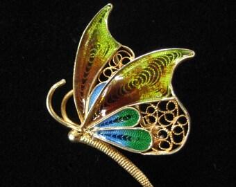 800 Silver Filigree Enamel Butterfly