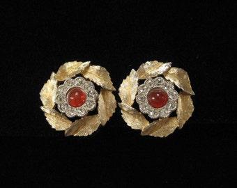 Brushed Gold Earrings, Carnelian Stone Centers