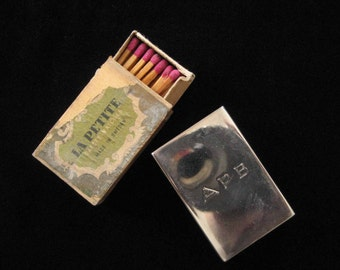 Sterling Silver Matchbox Cover w/ Original Antique Matches #5