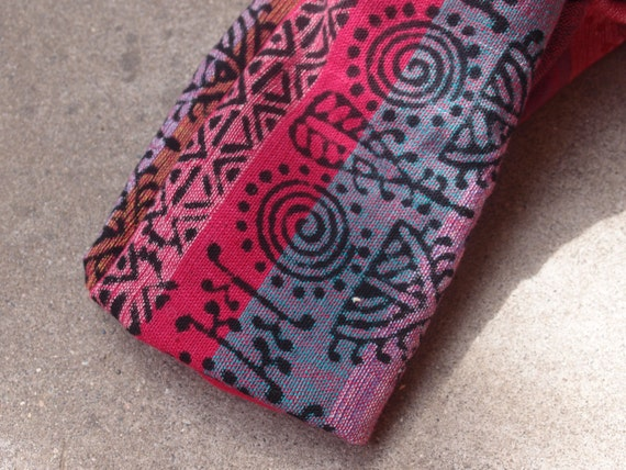 Vintage Fabric Cotton Ethnic Tribal Woven Cranberry Teal Purple