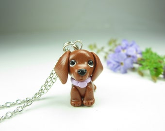 Red Dachshund Necklace Pendant - dachshund jewelry , dog jewelry , polymer clay charm