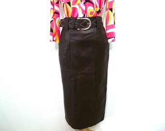Brown Leather Skirt High Waisted Pocket Skirt vintage 80s EREZ Size S